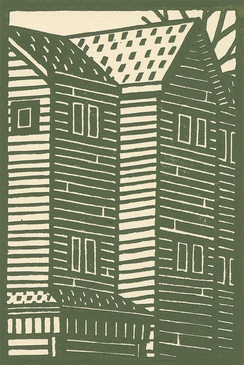 Woodcut illustration of a house